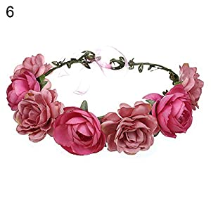 YHCWJZP Bride Wedding Artificial Flowers Headband Hair Band Garland Wreath Beach Party - Light Red 2