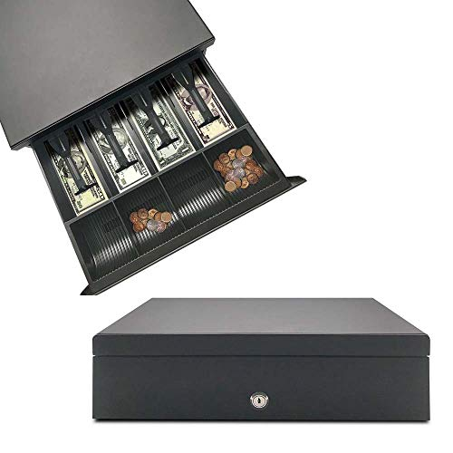 Apelila POS Cash Register Money Drawer with Removable Coin 4 Bills and 4 Coins Tray for Supermarket, Shop, Department Store, Drugstore (4 Bill & Coins)