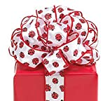 #9 Ladybug Wired Satin Fabric Ribbon.20 Yds Great For Crafts