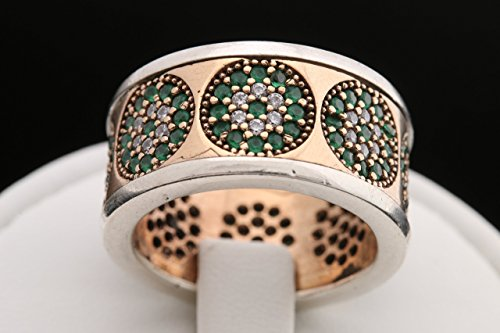Turkish Handmade Jewelry Evil Eye Round Cut Emerald Topaz 925 Sterling Silver Band Ring Size 6.5