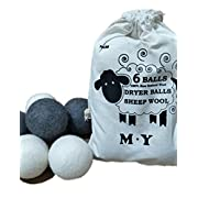 Organic Wool Dryer Balls 6 Pack, Premium Reusable Natural Fabric Softener for Laundry, Reduces Drying Time(3 White+3 Gray)