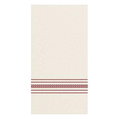 Hoffmaster FP1110 FashnPoint Red and White Dishtowel Printed Dinner Napkin, Ultra Ply, 15 1/2