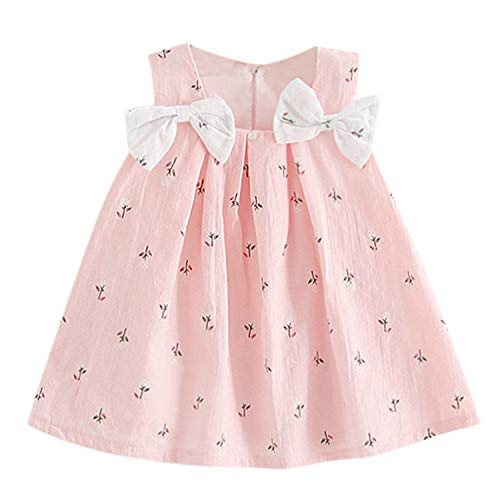 Baby Girl Dress Toddler Kid Baby Girls Solid Bow Print Floral Suspender Princess Party Dress O-Neck Dress Pink 3T]()