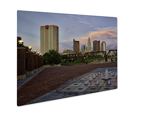 Ashley Giclee Metal Panel Print, Sunset In Columbus Ohio From Northbank Park, Wall Art Decor, Floating Frame, Ready to Hang 16x20, - Columbus Ohio Times Sunset