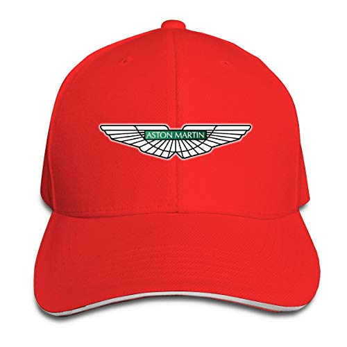 HANRUI Custom Aston Martin Car Logo Cool 100% Organic Cotton Peak Cap for Boys Red (Mark Martin Shirt)