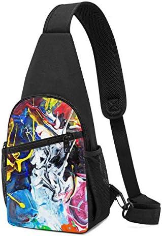 ボディ肩掛け 斜め掛け 水彩 カラフル ショルダーバッグ ワンショルダーバッグ メンズ 軽量 大容量 多機能レジャーバックパック