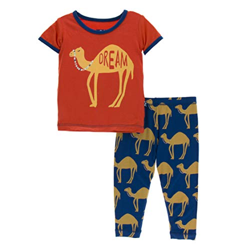 KicKee Pants Print Short Sleeve Pajama Set in Navy Camel, 5 Years