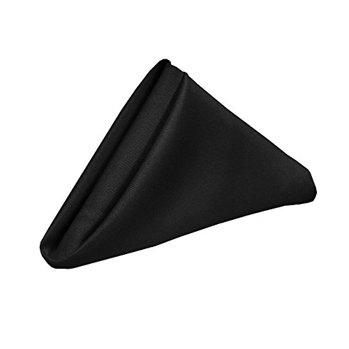 YCC Linen - 20 Inch Square Premium Polyester Cloth Napkins 10 Pack - Black, Oversized, Double Folded and Hemmed Table Napkins for Restaurant, Bistro, Wedding, Thanksgiving and Christmas (Restaurant Tables Bistro)