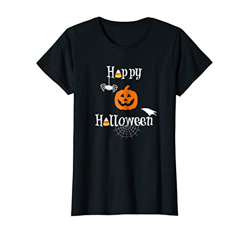 Womens Happy Halloween Shirt Candy Pumpkin Spider Crow Fun Tshirt XL -