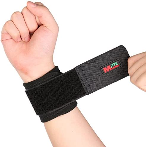SOCKO 2 PCS 1436 Adjustable Classic Sports Gym Elastic Stretchy Wrist Joint Brace Support Wrap Band – Black One Size