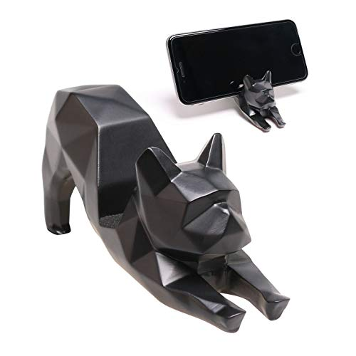 iChoue Geometric French Bulldog Yoga Shape Design Cellphone Holder Mount Dog Desktop Art Resin Decor Frenchie Lover Present Gift - Black (Decor Accents And Sculptures)
