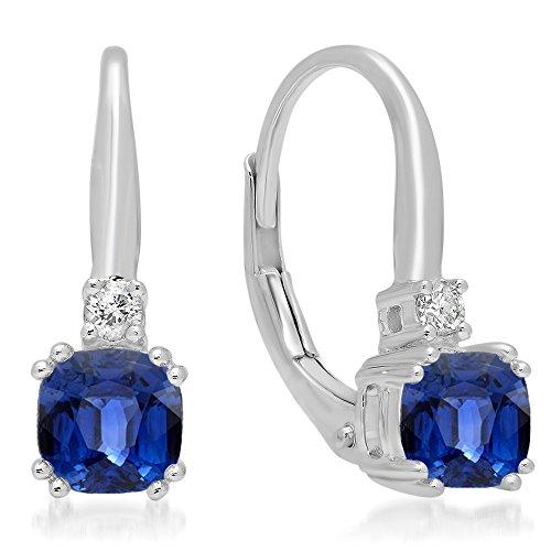 (14K White Gold Cushion Cut Blue Sapphire & Round Cut White Diamond Ladies Dangling Drop Earrings)