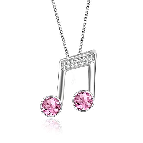 925 Sterling Silver Music Note Necklace Music Clef Ottava Pendant with Pink Swarovski Crystals,Gift for Girls Women -