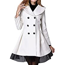 US&R, Women's Fitted Double Breasted Lace Decoration Wool Blend Trench Coat