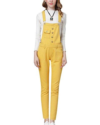 Mujer Peto Vaquero con Bolsillo Casual Denim Pantalones Mezclilla Jumpsuit Amarillo