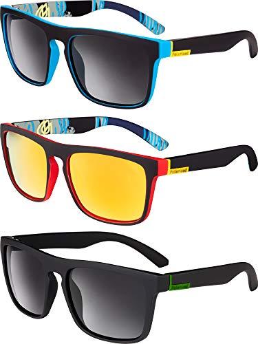 3 Pieces Mens Sunglasses Men's Classic 80's Retro Sunglasses Trendy Stylish Driving Fishing Sunglasses (Color Set A)