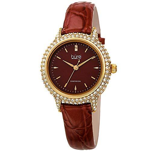 (Burgi Swarovski BUR249 Women's Swarovski Crystal Studded Case Watch with Alligator Embossed Patent Leather Strap (Brown))