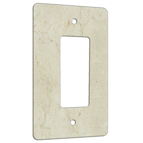 Marble Crema Marfil Pattern on Metal Wall Plate - 1 Gang Switch (1 Gang Decora)