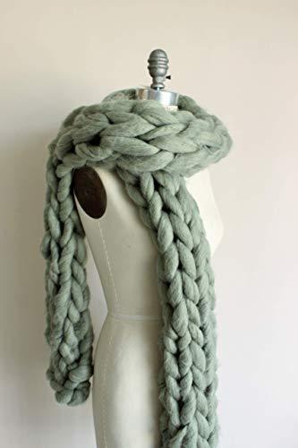 Mist Wool Scarf - Arm Knit Scarf, BIG Super Chunky, Extra Long/Light Green Yarn /