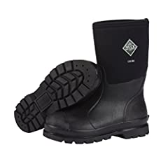Ideal for landscaping and other general outdoor work, these Muck Chore Classic Men's Rubber Work Boots keep feet dry and comfortable all day long. The 5 mm neoprene is waterproof and shock-absorbent. It also retains heat and is flexible to ad...