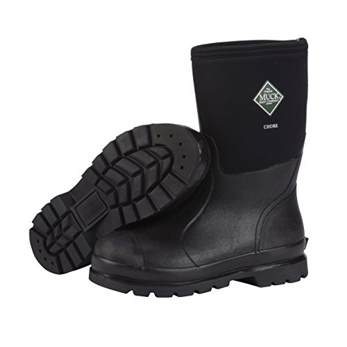 Steel Toe Rain Boots (The Original MuckBoots Adult Chore Mid Boot,Black,Men's 9 M/Women's 10 M)