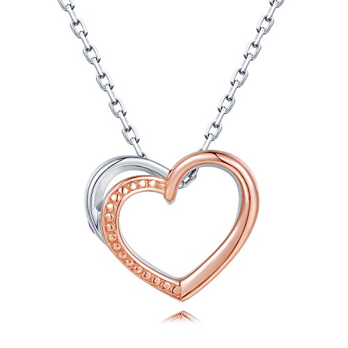 MaBelle 925 Sterling Silver Pink Sapphire Rose Gold Plated Open Heart Women's Pendant Necklace (16'') by MaBelle