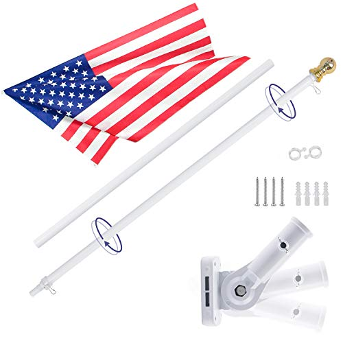 Gientan 6FT Aluminum Tangle Free Spinning Flag Pole Kit with US Flag, Premium Heavy Duty American Flagpole with Stainless Steel Clip & Free Metal Bracket for Residential House or Commercial, White -