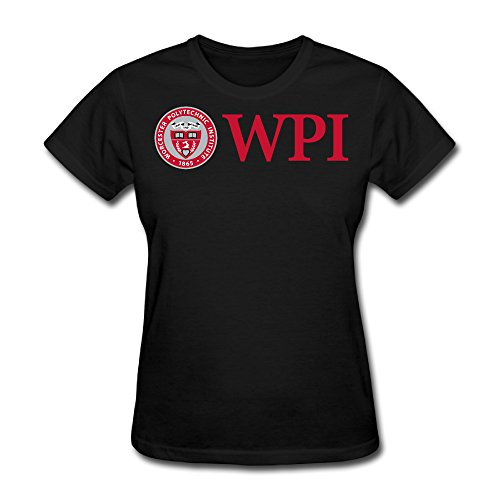 Umison Worcester Logo University Women Short Sleeves O-neck Trendy Tshirt L Black (Halloween In Worcester)