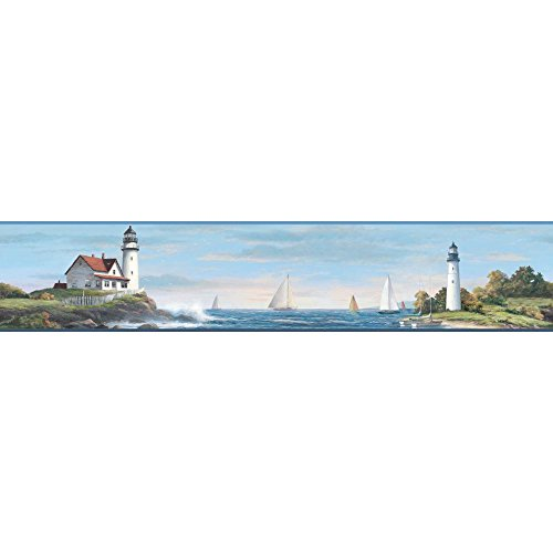 York Wallcoverings Nautical Living Sailing Lighthouse Border, Bright Blue/White/Shades Of Green/Dark Brown/Red