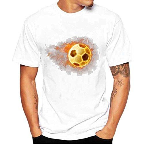 Clearance ! Men T Shirt,  Ninasill  Exclusive Fashion Tees Shirt Football Print Short Sleeve Tops T Shirt Tank (M, White)