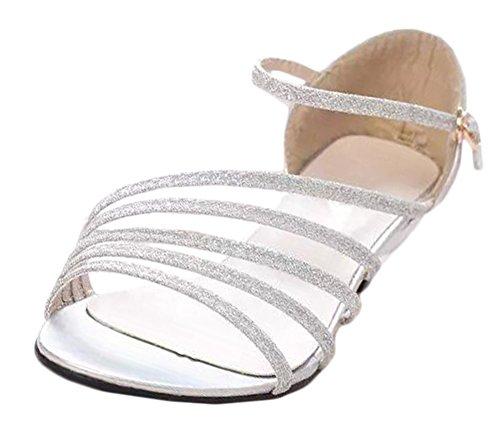 tobillo flop correa romana las sandalias Trenzado de sandalias clip mujeres Scothen planos T las del punta los Zapatos Correa mujeres correa las zapatillas flip playa de Gladiador de del Plata B de de pYq5w8z