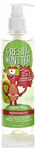 Fresh Monster Kids Detangler Spray (Watermelon, 8oz) for NORMAL to THICK hair types - No Toxins, Sulfates, Parabens - Hypoallergenic - Natural Conditioning Spray Smoothes Tangles by Fresh & Monster