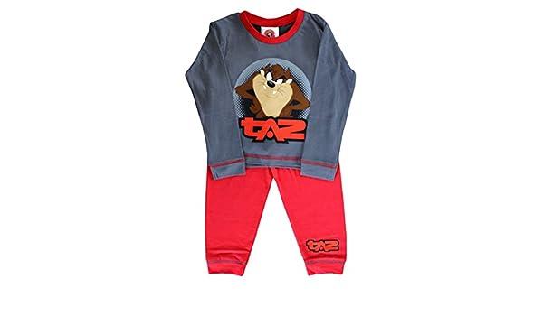 Looney Tunes Taz Camiseta Oficial de Pijama con Mangas largas Para Niño certificada Conjunto Pijama de Algodón Gris Rojo: Amazon.es: Ropa y accesorios