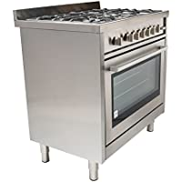 36 in. Gas Range with 5 Italian Made Burners, Oven, Broiler, Motorized Rotisserie, with Legs Cosmo COS-965AGF