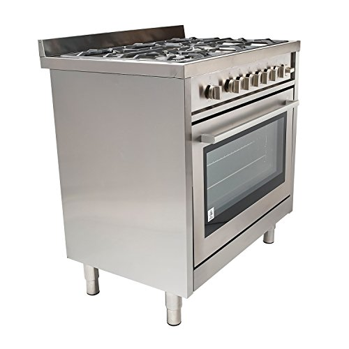 36 in. Gas Range with 5 Italian Made Burners, Oven, Broiler, Motorized Rotisserie, with Legs Cosmo...