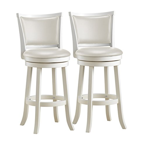 CorLiving DWG-119-B Woodgrove White Wash Wood Swivel Bar Height Barstool with Leatherette Seat, 29'' Seat Height, Set of 2 -