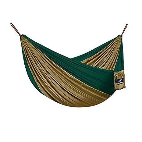 Lhedon Camping hamacs Portable Parachute en nylon Hamac Hamac double avec sangles d'arbre pour randonnée, camping, randonnée, Voyage, plage, cour Sac à Dos Jungle Cour (Camouflage)
