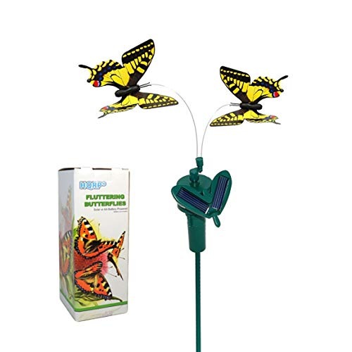 HQRP Pair of Solar Powered Flying Fluttering Butterflies Yellow Swallowtail for Garden Plants Flowers Plus UV Meter
