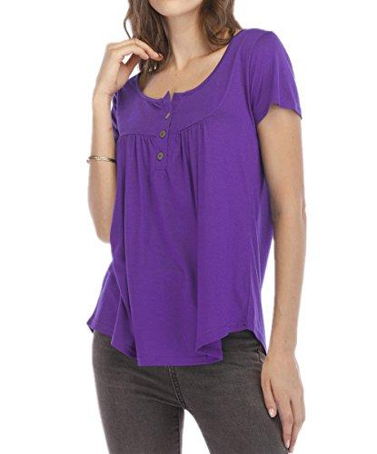 Tops Plier T Haut Blouses Violet Shirts Fashion Manches Casual Tee t Chemisiers Onlyoustyle Courtes Femmes UwpvYvqP