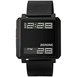 ZERONE Bsquared 3 Ultra Slim Black Mesh Band Digital Watch