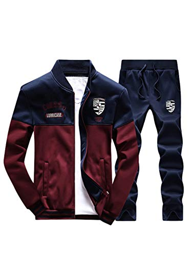 Lavnis Men's Casual Tracksuit Long Sleeve Full-zip Running Jogging Sports Jacket And Pants Red Blue ()