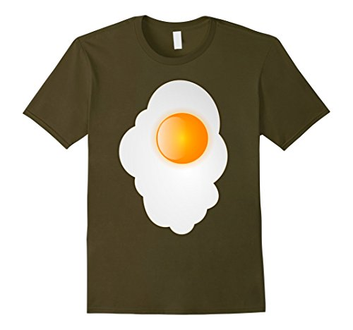 Men's Fried Egg last minute funny Halloween costume tshirt Medium Olive