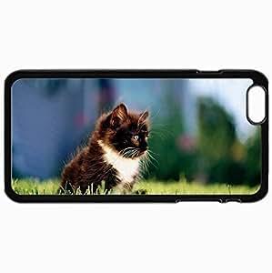 Customized Case Back For Iphone 6 Plus 5.5 Inch Hard Cover Personalized Cat Cat Kitten Black Grass City Black WANGJING JINDA
