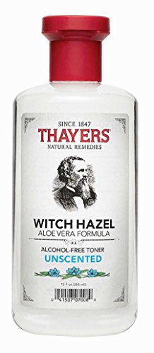 Toner Alcohol - Thayers Alcohol-Free Witch Hazel Toner with Aloe Vera Formula, Unscented, 12 Fluid Ounce
