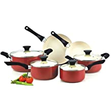 Cook N Home NC-00359 Nonstick Ceramic Coating PTFE-PFOA-Cadmium Free 10-Piece Cookware Set, Red