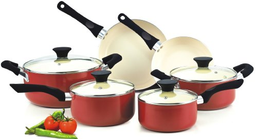 Stick Set Ceramic Cookware Non (Cook N Home NC-00359 Nonstick Ceramic Coating 10-Piece Cookware Set, Red)