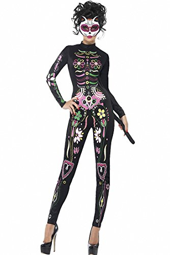 Sugar Skull Halloween Costumes Ideas (Women Adult Party Fancy High Neck Sugar Skull Skeleton Cat Halloween Costume Party Cosplay Long Sleeve Bodysuit)