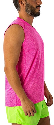 Men's Dri Fit Moisture Wicking Quick Dry UPF 40 UV Sun Protection Sport Athletic Performance Sleevless Muscle Shirt Tank Top (Medium, Hot Pink) by Exist (Image #3)
