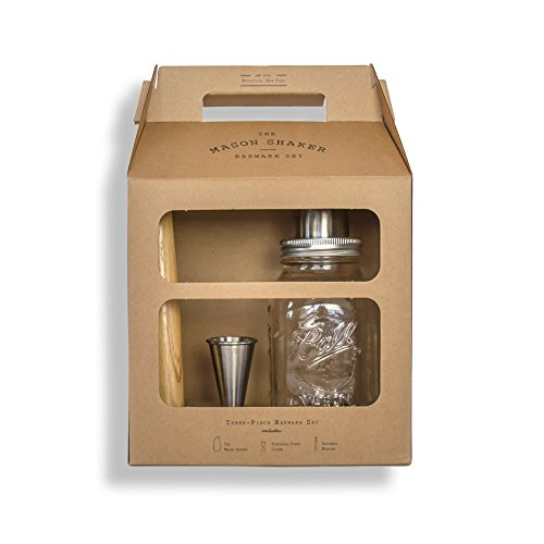 W&P MAS-GIFTSET2 Mason Shaker Barware Set, w/ Mason Cocktail Shaker, Muddler, and Jigger, 3 Pieces, Craft Cocktail Collection, Bar Tools