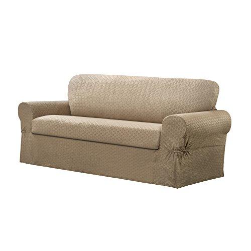 - MAYTEX Conrad 2-Piece Loveseat Furniture Cover/Slipcover, Sand